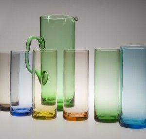 Coloured glasses and jug